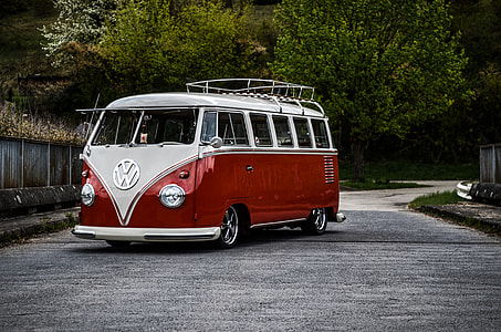 white and red Volkswagen Kombi
