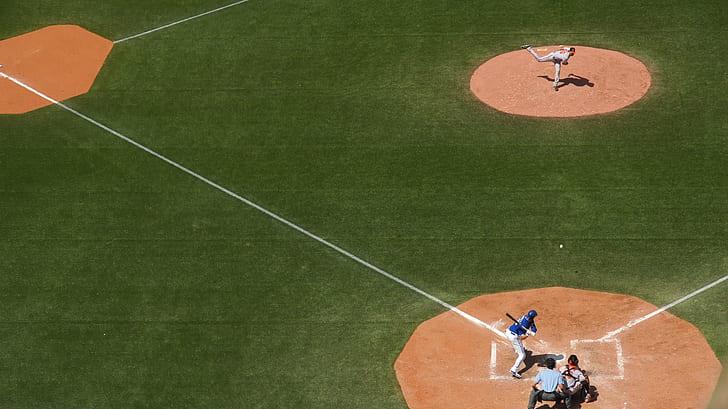 baseball game on birds eye view