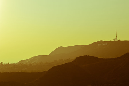 Landscape shot of the famous Hollywood Hills in Los Angeles