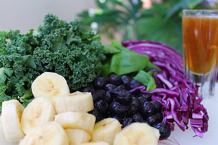 sliced bananas and vegetables