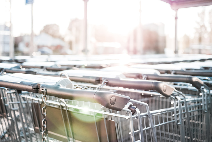 Row of Parked Shopping Carts