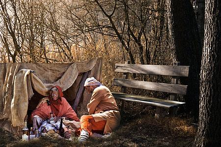 man and woman at tent