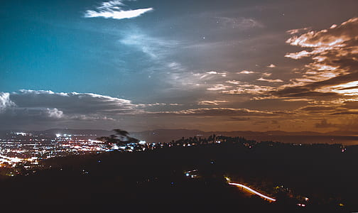 Aerial Photo of City Lights