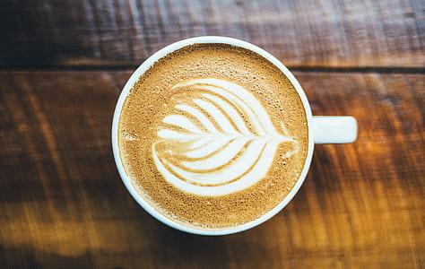 cappuccino in white ceramic closeup photo