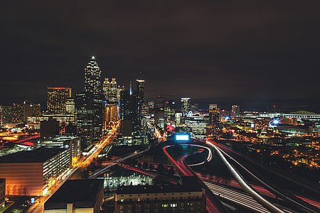 Night shot across the city of Atlanta in the USA
