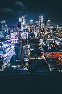 top view of skyscrapes during night time