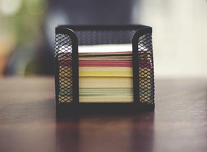 paper stack in mesh steel rack