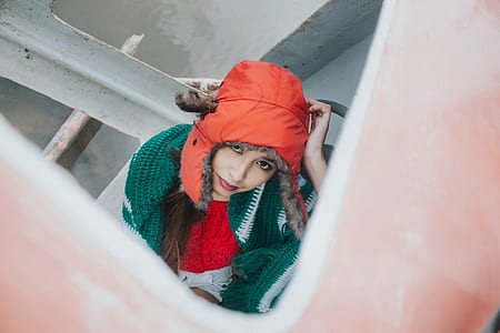Woman Wearing Orange Snow Hat
