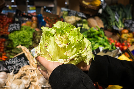Holding lettuce in a grocery store