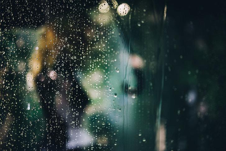 Water drops of rain on glass