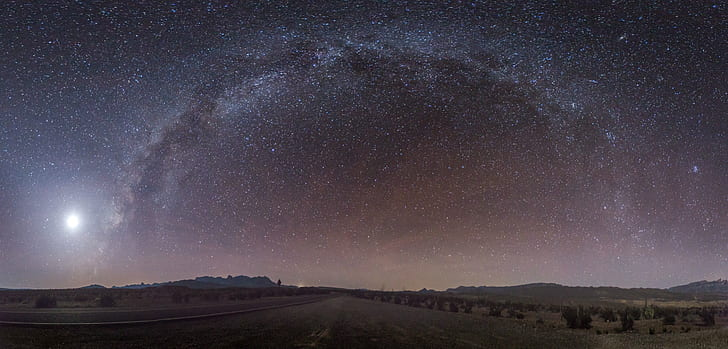 long exposure and wide-angle photograph of stars