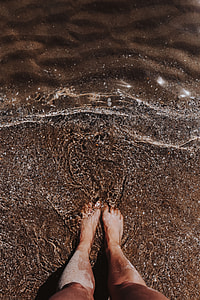 Female legs in the sand