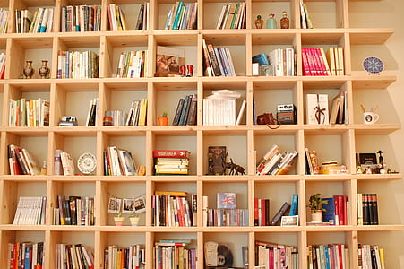 beige wooden bookshelves