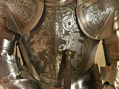 gray metal floral knight armor