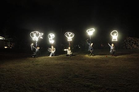 five, person, neon light, nighttime, light, lights