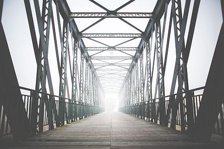 Green Old Steel Bridge in the Fog