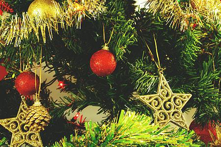 Closeup shot of Christmas tree decorations