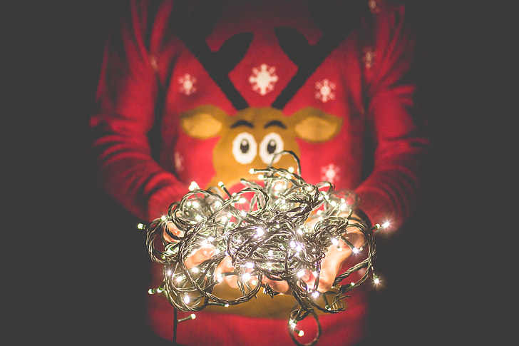 Man in Christmas Sweater Holding Christmas Lights