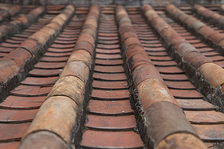 brown roof tiles close up photo