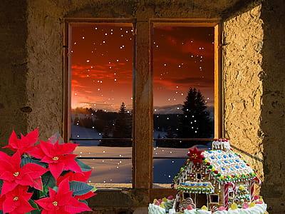 photo of brown house miniature near window