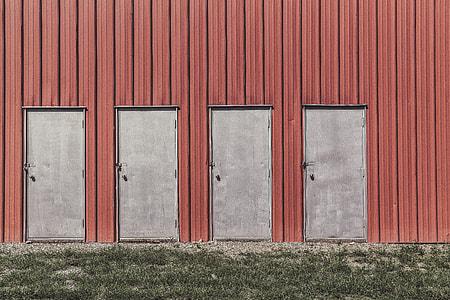 four gray metal doors