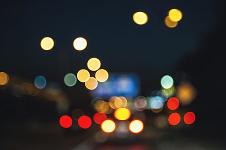 Night bokeh lights in the city