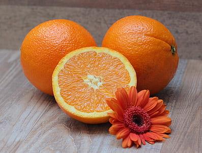 sliced orange fruit beside orange daisy flower