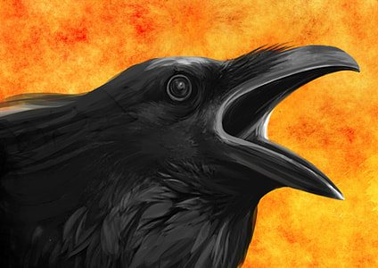 raven with yellow and orange background