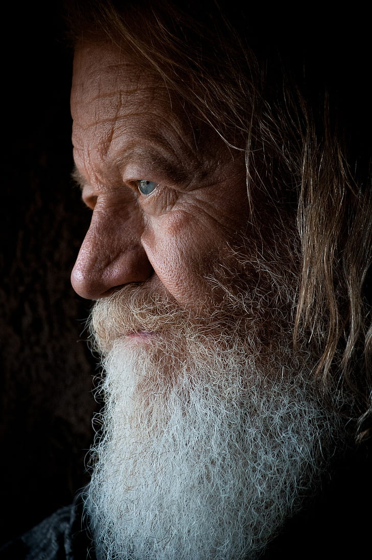 man face with white beard