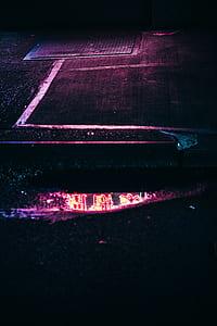 neon, puddle, reflection, pink, walk