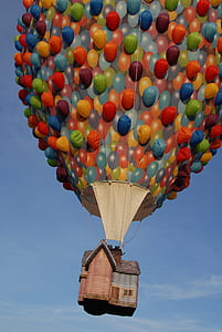 assorted-color hot balloons on air
