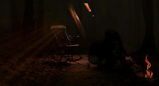 girl, fantasy, surreal, attic, rocking chair, mystical