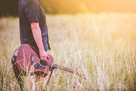 person holding guitar on grass field