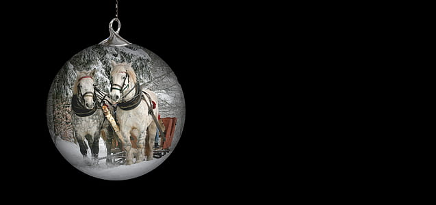 two beige horse print bauble