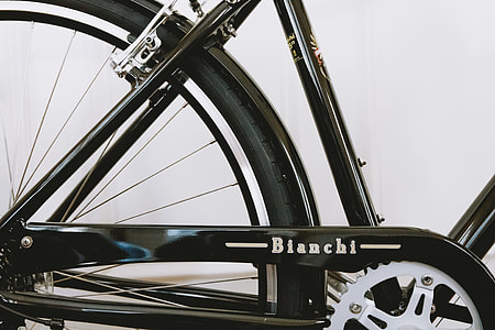 black Bianchi bicycle with white background