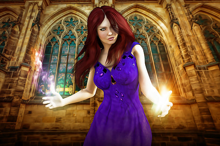 woman wearing purple dress in front of brown cathedral