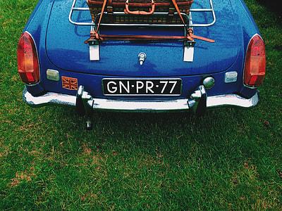 blue GN-PR-77 car license plate