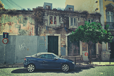 Street shot of a car sitting on an old back street in Lisbon, Portugal, image captured with a Canon DSLR