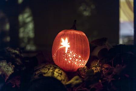 brown lighted pumpkin decor