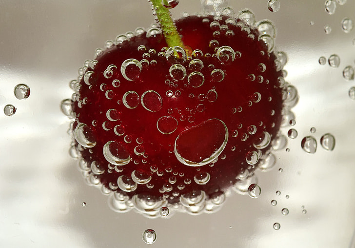 cherry fruit on water