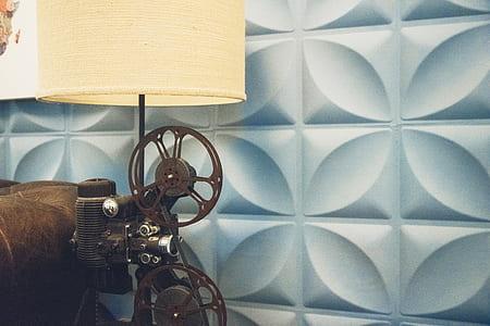 film reel-themed desk lamp