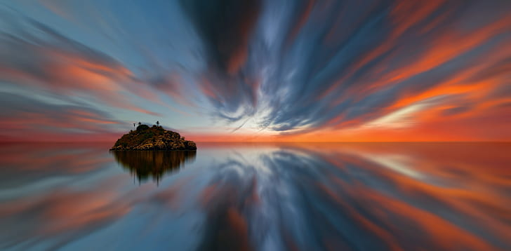 sunset, sky, waters, panorama, evening, color