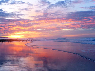 photo of sunset over the horizon