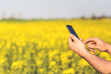 Smartphone Acer Jade S in the hands of a man on a background of yellow flowers