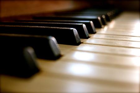 Piano keys in tilt shift photography