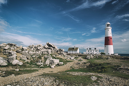 Wide angle landscape shot of Portland Bill Lighthouse on the Jurassic Coast in Dorset, England