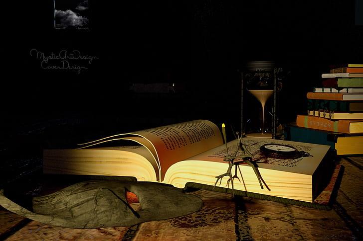 brown hardbound book on table
