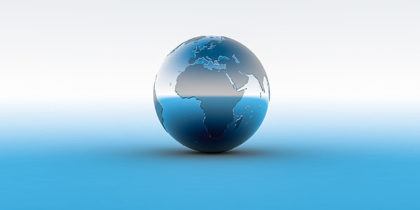 silver and gray globe with white background