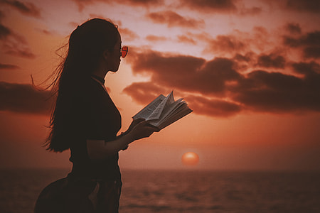 Reading with sunset