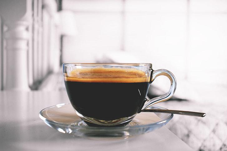 Closeup shot of coffee in a glass cup